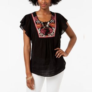 Style & Co Black Embroidered Butterfly-Sleeve Top